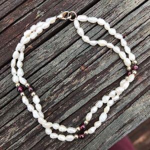 Garnet and FW pearl bracelet